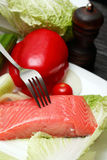 Trout And Vegetables Stock Photos