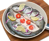 Trout and vegetables in a pan Royalty Free Stock Image