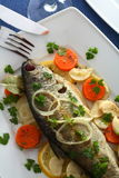 Trout on the vinegar Stock Images