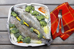Trouts prepared for baking Royalty Free Stock Photography