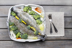 Trouts prepared for baking Royalty Free Stock Photos