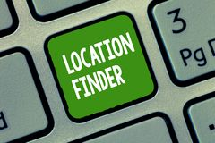 Trouveur d'emplacement des textes d'écriture Concept signifiant le service d'A décrit pour trouver l'adresse d'un endroit sélecti photographie stock