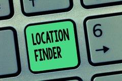 Trouveur d'emplacement des textes d'écriture de Word Concept d'affaires pour le service d'A décrit pour trouver l'adresse d'un en images libres de droits