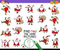 Trouvez deux le même jeu de photos avec le père noël illustration de vecteur