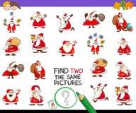 Trouvez deux le même jeu de photos avec Santa Image libre de droits
