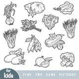 Trouvez deux les mêmes photos, jeu d'éducation pour des enfants Ensemble de légumes illustration stock