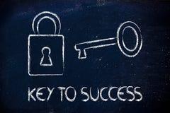 Trouvez la clé au succès, la clé et la conception de serrure Image stock