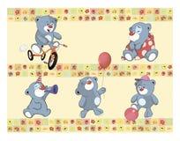 Trouvez la frontière semblable d'images pour le papier peint avec les petits animaux d'ours bourrés Photo libre de droits
