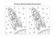 Trouvez la page visuelle de puzzle et de coloration de différences avec la fusée ou le vaisseau spatial illustration stock