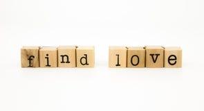 Trouvez le concept de mots, de sentiment et d'émotion d'amour Photographie stock libre de droits