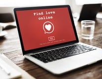 Trouvez le concept Romance de datation de coeur d'amour de valentines en ligne d'amour Images libres de droits