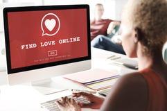 Trouvez le concept Romance de datation de coeur d'amour de valentines en ligne d'amour Photographie stock libre de droits