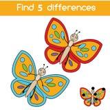 Trouvez le jeu éducatif d'enfants de différences Badine la feuille d'activité avec le papillon illustration de vecteur