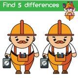 Trouvez le jeu éducatif d'enfants de différences Badine la feuille d'activité Thème de professions illustration stock