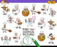 Trouvez le jeu identique de deux caractères de chef pour des enfants illustration de vecteur
