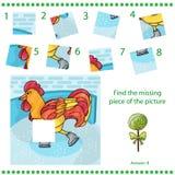 Trouvez le morceau absent - coq de jeu de puzzle Image libre de droits