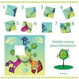 Trouvez le morceau absent - déconcertez le jeu pour des enfants Images stock