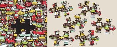 Trouvez le morceau absent de transport, jeu visuel Solution dans le hidd Photos stock