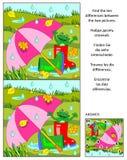 Trouvez le puzzle visuel de différences - jour pluvieux d'automne illustration stock