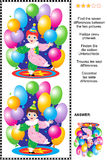 Trouvez le puzzle visuel de différences - peu de clown de cirque Photographie stock
