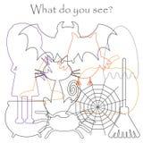 Trouvez les objets cachés sur la photo, hibou de thème de Halloween, fantôme, sorcière, chat, toile d'araignée, araignée, ensembl illustration libre de droits