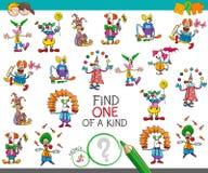 Trouvez un d'un jeu aimable avec des caractères de clown illustration de vecteur