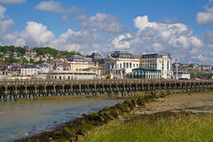 Trouville landscape with dramatic sky. Trouville hill, casino and port entrance Stock Images