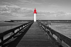 Trouville lighthouse, red selective color, Normandy France Stock Photos