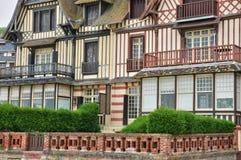 Trouville sur的梅尔议院在Normandie 库存照片