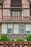 Trouville sur的梅尔议院在Normandie 库存图片