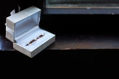 Trouwringen in een doos Royalty-vrije Stock Fotografie