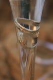 Trouwringen in een glas champagne Stock Foto