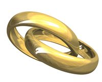 Trouwringen in gouden 3D Stock Foto's