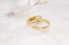 Trouwringen, huwelijksdag Stock Afbeeldingen