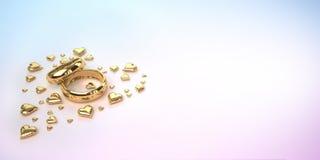 Trouwringen met harten Royalty-vrije Stock Afbeeldingen