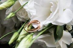 Trouwringen op bruids stock foto's