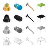 Trouxa, bolsos, ferramentas, e o outro ícone da Web no estilo dos desenhos animados Curso, cabine, tenda, ícones na coleção do gr Fotografia de Stock Royalty Free