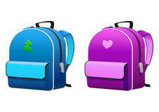 Trouxas cor-de-rosa e azuis para a escola Imagens de Stock Royalty Free