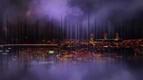 Trovão e arquitetura da cidade na noite video estoque