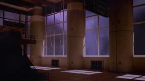 Trovão e fábrica velha internos vídeos de arquivo