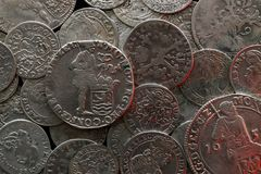 Ancient silver medieval coins Stock Image