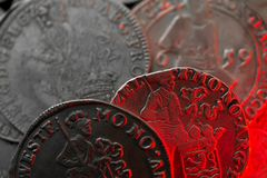 Ancient silver medieval coins Royalty Free Stock Photography