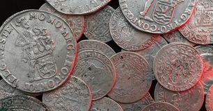 Ancient silver medieval coins Stock Photography