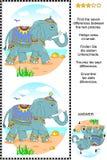 Trovi il puzzle visivo di differenze con l'elefante Immagine Stock
