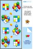 Trovi il puzzle visivo di per la matematica di vista superiore illustrazione di stock