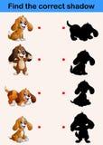 Trovi l'ombra corretta Collezioni divertenti del piccolo cane illustrazione vettoriale