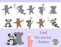 Trovi l'ombra corretta, gioco di istruzione per i bambini Animali e natura svegli del fumetto Illustrazione di vettore illustrazione vettoriale
