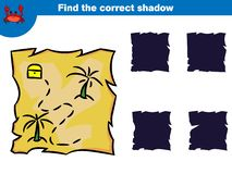 Trovi l'ombra corretta, gioco di istruzione per i bambini Metta dell'illustrazione di vettore dei caratteri del pirata del fumett illustrazione vettoriale