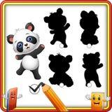 Trovi l'ombra corretta Posa divertente del panda del bambino del fumetto Gioco di istruzione per i bambini illustrazione vettoriale
