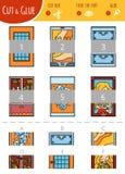 Trovi la giusta parte Tagli e gioco della colla per i bambini Insieme del fumetto illustrazione vettoriale